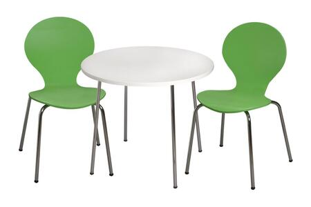 3012GR Modern Children's Table and 2 Chair Set with Chrome Legs (Green Color