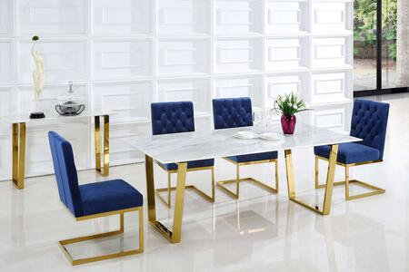 Meridian Cameron MER5PCRECDH4BLUKIT5 Dining Room Set White, set
