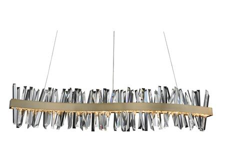 Glacier 030258-038 60″ LED Wave Island in Brushed Champagne Gold Finish with Firenze Crystal Spears