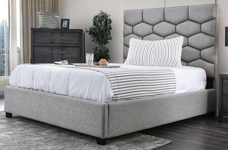 Furniture of America Celestia CM7202BED Bed Gray, 1