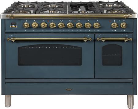 Ilve Nostalgie UPN120FDMPGU Freestanding Dual Fuel Range Blue Grey, Blue Grey Dual Fuel Range