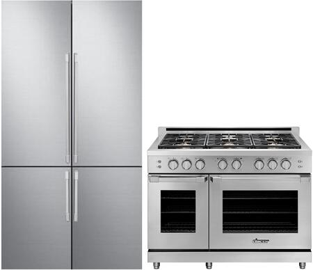 2 Piece Kitchen Appliances Package with DRF427500AP 42″ French Door Refrigerator and HGPR48CNG 48″ Gas Range in Stainless