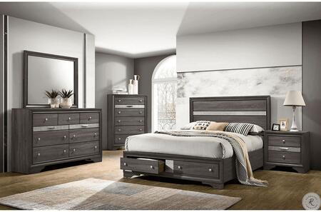 Furniture of America Chrissy CM7552GYEKBEDNSCHDRMR Bedroom Set Gray, CM7552GY-EK-BED-NSCHDRMR