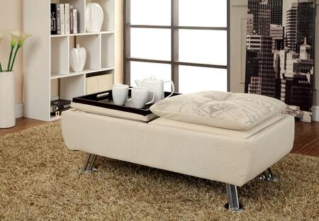 Furniture of America Hauser CM2677WTOT Living Room Ottoman White, Main Image