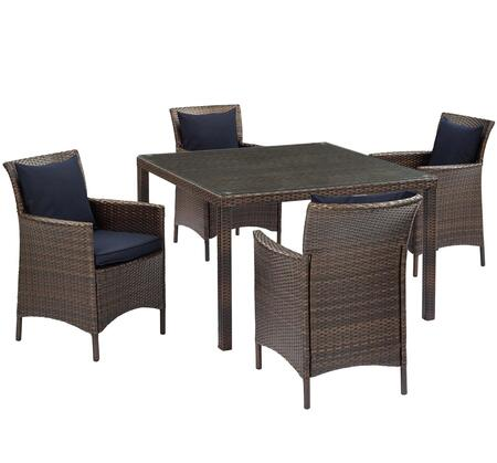 Conduit Collection EEI-3893-BRN-NAV-SET  5 Piece Outdoor Patio Wicker Rattan Set with Powder-Coated Aluminum Frame  Synthetic PE Rattan Weave and