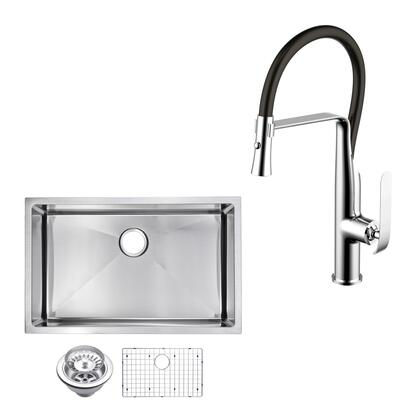 CF511-US-3219B 32″ X 19″ 15mm Corner Radius Single Bowl Stainless Steel Hand Made Undermount Kitchen Sink With Drain  Strainer  Bottom Grid  And