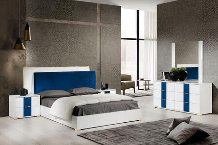 Olympia Collection OLYMP-KBDM2N-WH-21 5-Piece Bedroom Set with King Bed  Dresser  Mirror and 2x Nightstands in