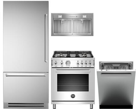 4 Piece Kitchen Appliances Package with REF36PIXL 36″ Bottom Freezer Refrigerator  PROF304GASXT 30″ Gas Range  KIN30PROX 30″ Cabinet Insert Hood and
