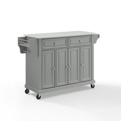 Full Size Kitchen Collection KF30005EGY Full Size Granite Top Kitchen Cart in Gray