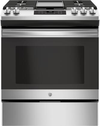 GE JGSS66SELSS 30 Inch Slide-in Gas Range with Sealed Burner Cooktop, 5.6 cu. ft. Primary Oven Capacity, in Stainless Steel