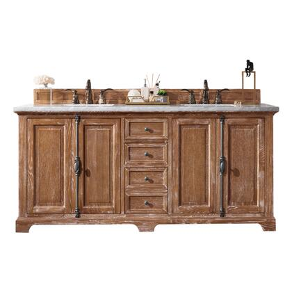 "Providence 238-105-5711-3AF 72"" Double Sink Vanity with 3CM Arctic Fall Solid Surface Top and Rectangular Sink in Driftwood"