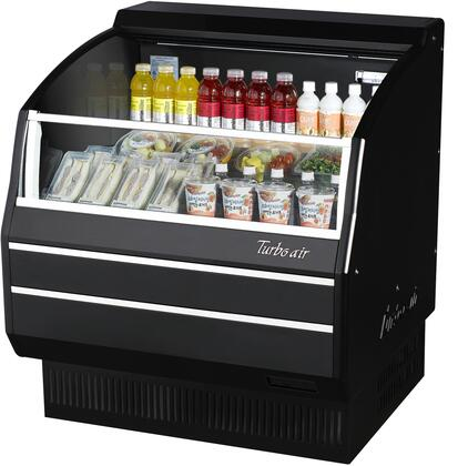 Turbo Air TOM40SBSPAN Display and Merchandising Refrigerator Black, TOM40SBSPAN Angled View