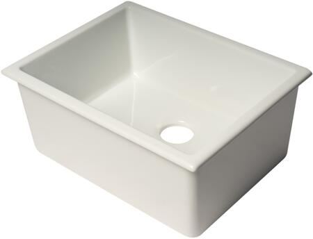 AB2418UD-W 24″ White Undermount/Drop-In Fireclay Kitchen Sink with 3.5″ Rear Center Drain Opening in