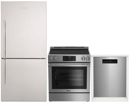 """3-Piece Kitchen Appliances Package with BRFB1812SSN 30"""" Bottom Freezer Refrigerator BERU30420SS 30"""" Electric Range and DWT52600SSIH 24"""" Built In"""