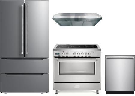 4 Piece Kitchen Appliances Package with VERF36CDSS 36″ French Door Refrigerator  VDFSEE365SS 36″ Electric Range  VEHOOD3610 36″ Under Cabinet Range