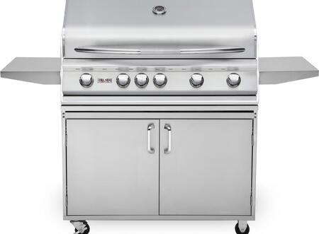 DSBQ40RL 40″ Liquid Propane Freestanding Grill with 304 Stainless Steel Construction  52500 BTU Max Heat Output  5 Burners  Integrated Temperature