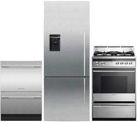 """3 Piece Kitchen Appliances Package with RF135BDLUX4N 25"""" Bottom Freezer Refrigerator OR24SDMBGX2N 24"""" Gas Range and DD24DDFTX9N 24"""" Double Drawer"""