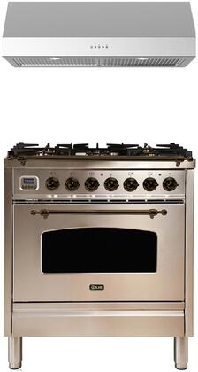2 Piece Kitchen Appliances Package with UPN76DMPIY 30″ Dual Fuel Gas Range and LUCCA30 30″ Under Cabinet Convertible Hood in Stainless