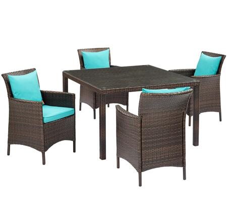 Conduit Collection EEI-3893-BRN-TRQ-SET  5 Piece Outdoor Patio Wicker Rattan Set with Powder-Coated Aluminum Frame  Synthetic PE Rattan Weave and
