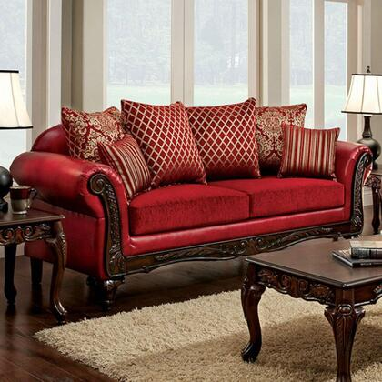 Furniture of America Marcus SM7640SF Stationary Sofa Red, Main Image