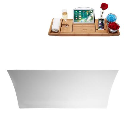 M-2260-67FSWH-FM 67″ Soaking Freestanding Tub and tray With Internal Drain in