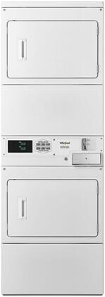 Whirlpool CSP2941HQ 27 Stacked Gas Dryer on Dryer with 14.8 cu. ft. Total Capacity, 1/3 HP Motor, Four Roller Suspension, Coin Drop Equipped in White
