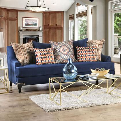 Furniture of America Sisseton SM2210SF Stationary Sofa Blue, SM2210-SF side