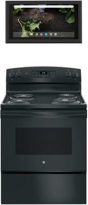 2 Piece Kitchen Appliances Package with JB256DMBB 30″ Electric Range and UVH13013MDS 30″ Under Cabinet Ducted Hood in