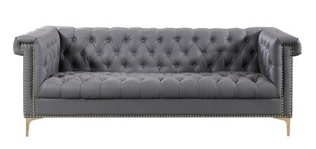 Custer Collection FSA2573-AC 84″ Sofa with Goldtone Y-Shaped Metal Legs  Rolled Arms  Nail Head Trim  Traditional Style  High density Foam Filled