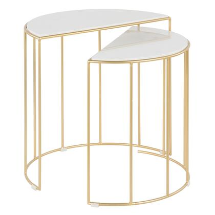 Canary Collection TB2-CANARYAUWM Nesting Tables with Gold Frame  Glam/Contemporary Style  Cage-Like Gold Tone Metal Base and Marble Top in Gold and