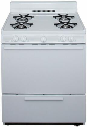 Premier  BFK100OP Freestanding Gas Range White, A Front View of the Range
