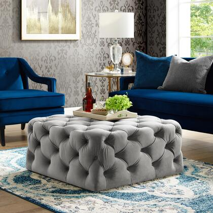 Ramon Collection ON93-02GR-AC Ottoman with Tufted Allover  Castered Legs and Velvet Upholstery in Grey