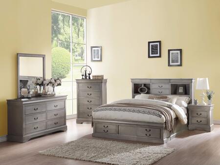 Acme Furniture Louis Philippe III 24357EKSET Bedroom Set Gray, 5 PC Set