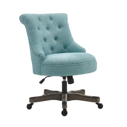 Linon Sinclair 178403LTBLU01U Office Chair, 178403LTBLU01U Sinclair Office Chair Light Blue Gray Wash Wood Base