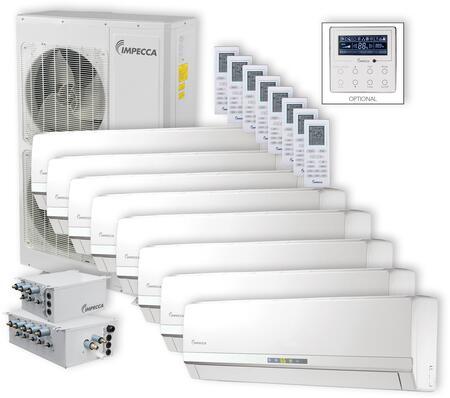 ISFW-6009X8 Flex Series 8-Zone Mini Split System with 52 900 BTU Outdoor Unit  8x 9 000 BTU Wall Mounted Indoor Unit  8x Wireless Remotes  3x Branch
