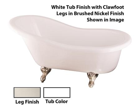 Barclay  ATS60WHPN Bath Tub White, White Tub Finish with Clawfoot Legs in Brushed Nickel Finish Shown