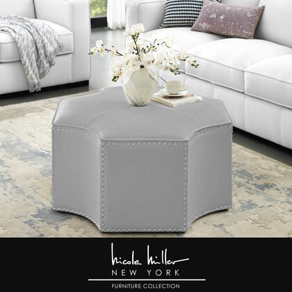 Runrawin Collection NON113-01SR-AC Cocktail Ottoman with Handmade Nailhead Trim  PU Leather Upholstery and  in Silver and Chrome