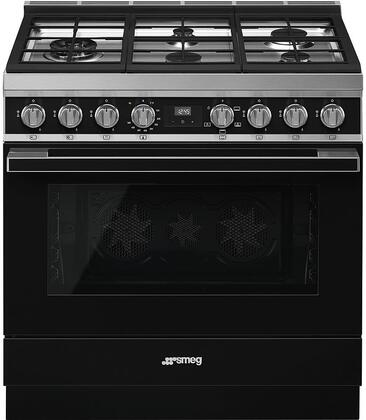 Smeg Portofino CPF36UGGBL Freestanding Gas Range Black, Main Image