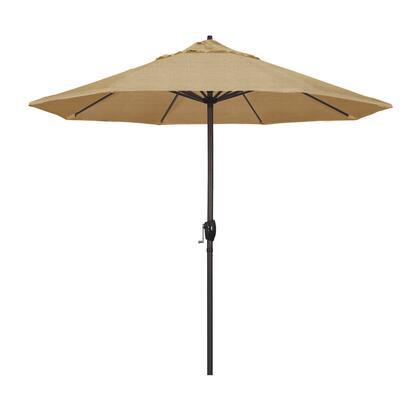 Casa Collection ATA908117-8318 9′ Patio Umbrella With Bronze Aluminum Pole Aluminum Ribs Auto Tilt Crank Lift With Sunbrella 2A Linen Sesame