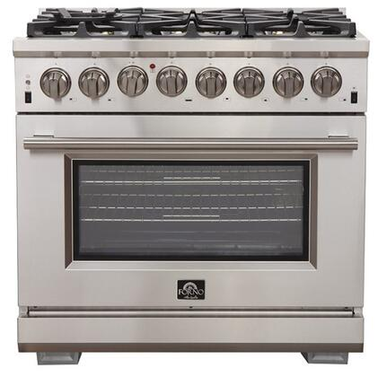 FFSGS6187-36 36″ Stainless Steel Pro-Style Dual Fuel Range with 5.36 cu. ft. Capacity  6 Italian Defendi Brass Burners  Convection Fan and Cast Iron