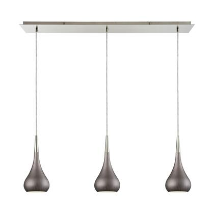31340/3LP-WZ Lindsey 3 Light Linear Pan Fixture in Satin Nickel with Weathered Zinc