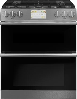 C2S950M2NS5 30″ Modern Glass Slide-In Dual Fuel Range with 6 Sealed Burners  7 cu. ft. Double Oven Total Capacity  Cast Iron Griddle  7″ LCD Touch