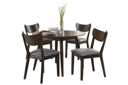 San Marino Collection 4702DTR5PC 5-Piece Round Wood Dining Set with 4 Dining Chairs and 1 Dining Table in Chestnut