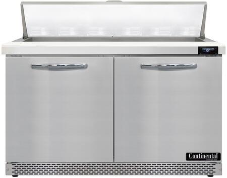Continental Refrigerator Designer Line D48N12FB Prep Refrigerator Stainless Steel, D48N12-FB Standard Top Sandwich Unit Refrigerator