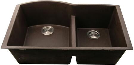 PR6040-BR-UM Plymouth Collection Sink 33″ Undermount Sink with Double Bowls  Sound Absorption  Scratch Resistant and Heat Resistant  in