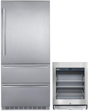 """2 Piece Kitchen Appliances Package with CS2080 36"""" Bottom Freezer Refrigerator and RU510 24"""" Built In Beverage Center in Stainless"""