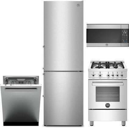 4 Piece Kitchen Appliances Package with REF24BMFX 24″ Bottom Freezer Refrigerator  PROF244GASXE 24″ Gas Range  KOTR30X 30″ Over the Range Microwave