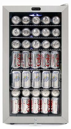 """BR-128WS 17"""" Freestanding Beverage Center with 120 Can Capacity LED Lighting 5 Wire Shelves and Lock in Stainless"""