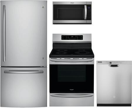 "4 Piece Ktichen Appliances Package with GDE21ESKSS 30"" Bottom Freezer Refrigerator GCRI3058AF 30"" Electric Induction Range WMH53521HZ 30"" Over the"