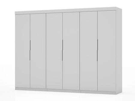 Mulberry Collection 124GMC1 Wardrobe/ Armoire/ Closet with 12 Adjustable Shelves 6 Drawers 6 Doors Contemporary Modern Style Medium-Density